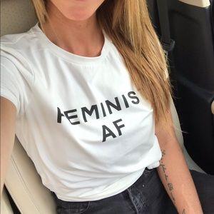 """SHEIN """"Feminist AF"""" spelled out, short-sleeved tee"""